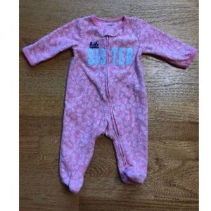 Carter's pink lil sister one piece fleece outfit